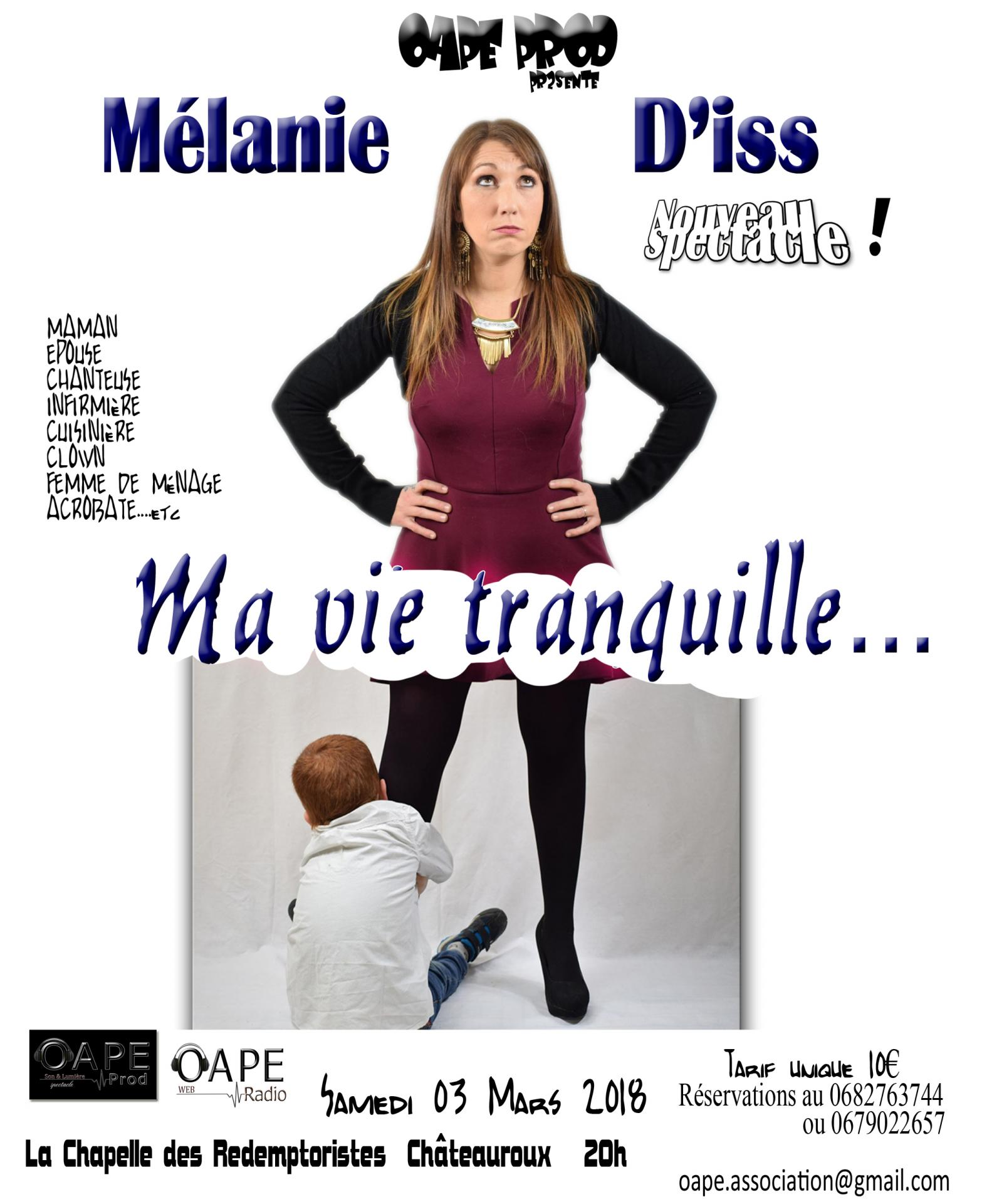 Affiche spectacle ma vie tranquille 2018